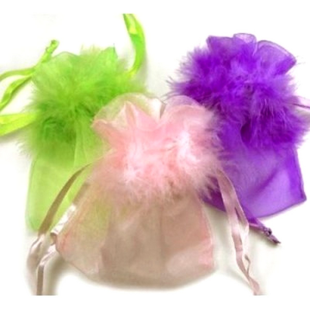 Sac dragees, mariage collerettes plumes (lot de 10)