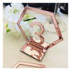 Numéro de table hexagonale plexiglas rose gold ( Lot de 10 )