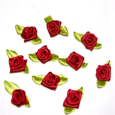 ARCHIVES  - Mini Rose en Satin Bordeaux / vert (lot de 50) : illustration