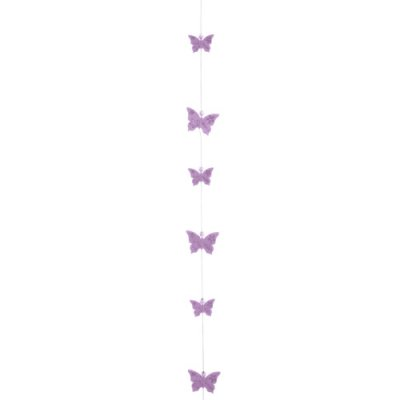 ARCHIVES  - Guirlande 1,20 m Papillons Feutrine  Lilas : illustration