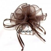 Bourses à dragées chocolat en organza (lot de 10)