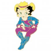 Broche Femme Plaqué Or Betty Boop Western Country