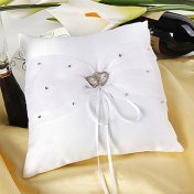 Coussin Alliance Mariage Double Coeur Strass