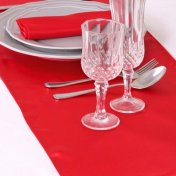 Chemin de table mariage satin rouge