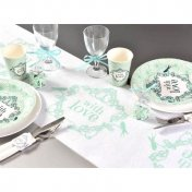 "Chemin de table Vintage ""With Love"" vert menthe"