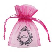 Sachet à dragées organdi fuchsia thème Just Married (lot de 10)