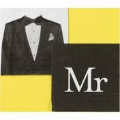 Serviettes de table Mr (Monsieur) Lot de 20